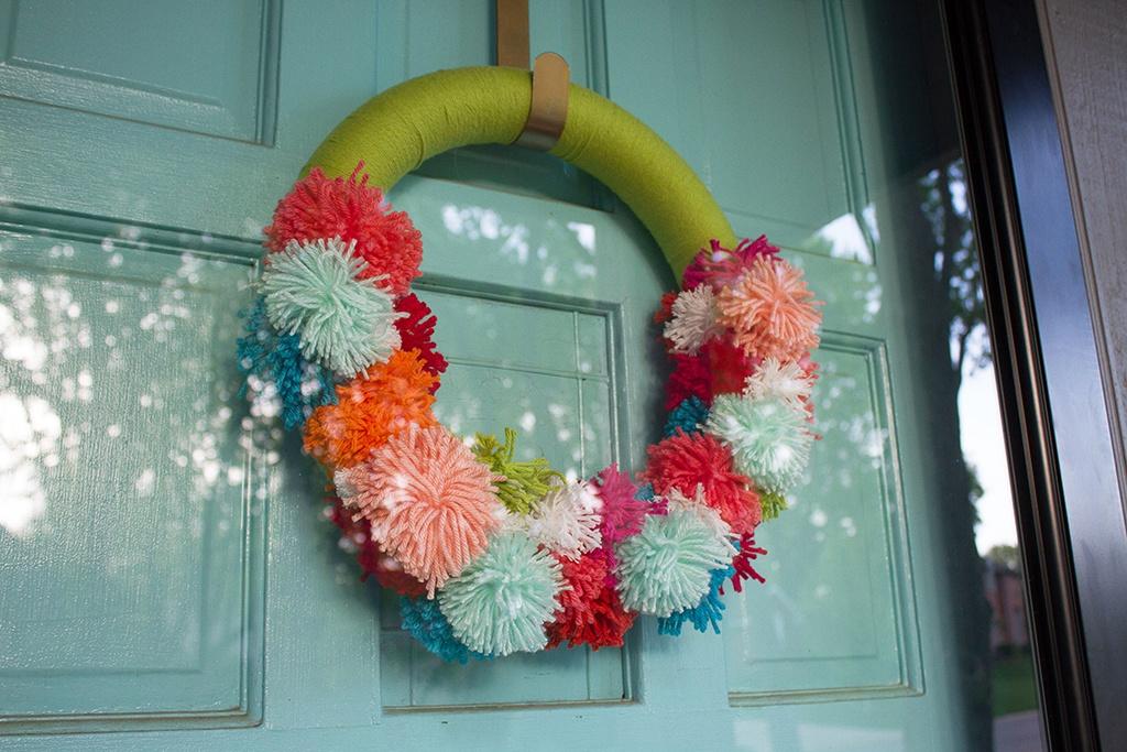 Larson Front Porch Makeover | Pompom Wreath.jpg